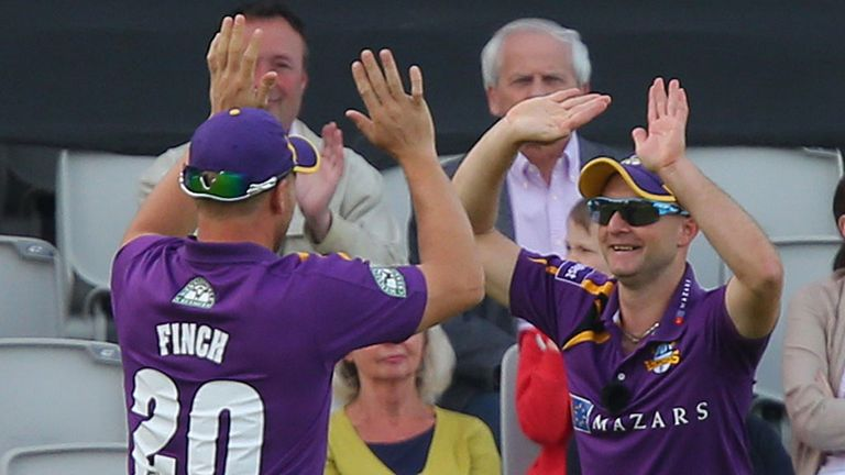 Aaron Finch and Adam Lyth celebrate another cracking combination catch