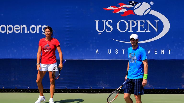 Andy Murray practices with his coach, Amelie Mauresmo on at the US Open