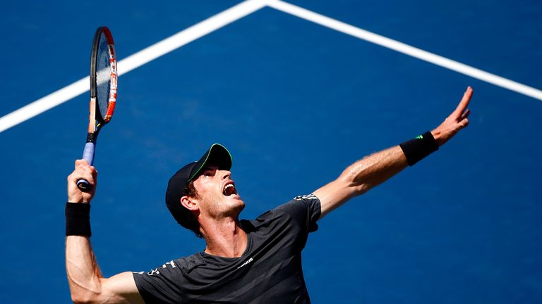 Andy Murray serves at the US Open