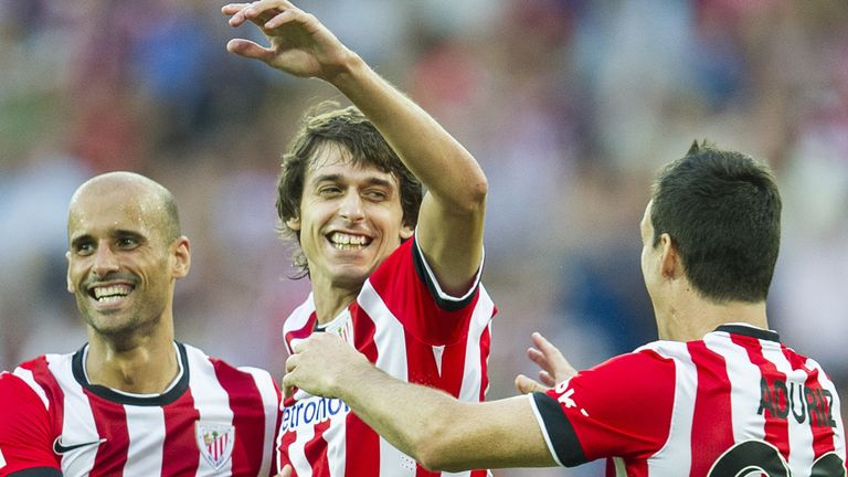 Ander Iturraspe of Bilbao celebrates after scoring