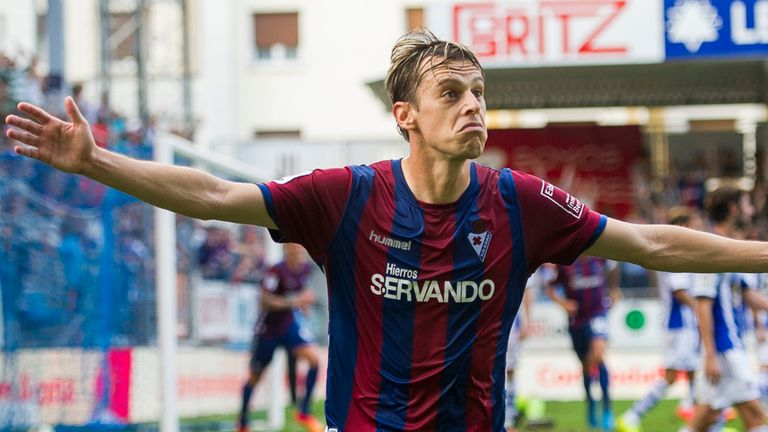 Javier Lara celebrates his winning goal for Eibar