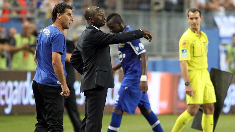 Bastia's head coach Claude Makelele looks on