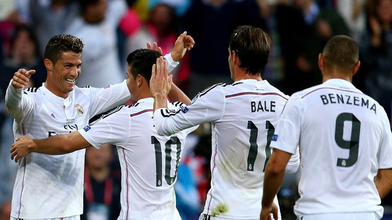 James Rodriguez celebrates with Real Madrid's acclaimed B-B-C forward line