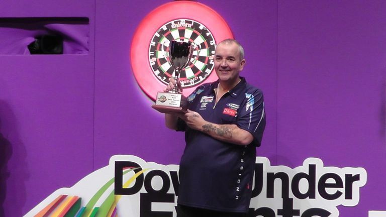 Phil Taylor wins the inaugural TABtouch Perth Darts Masters. Pic credit: PDC