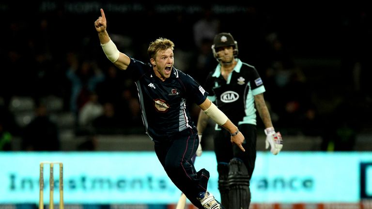 David Willey: Celebrates completing his hat-trick to end the game in style against Surrey