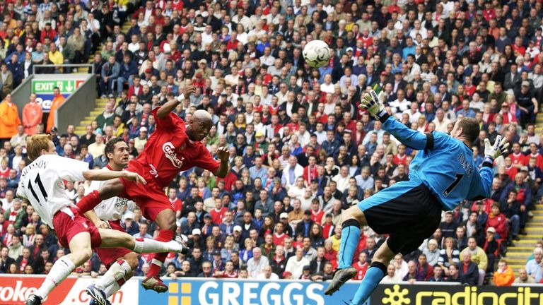 Diouf: Heads his second goal past Paul Jones