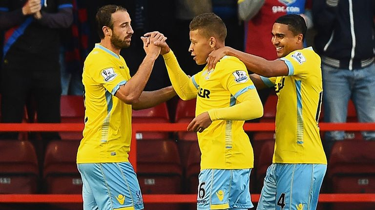 Dwight Gayle (c): Celebrates at Walsall