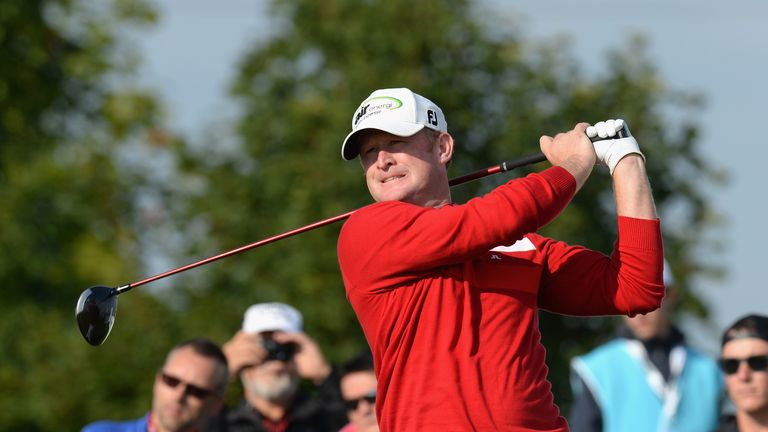 Jamie Donaldson plays his first shot on the 14th tee during day two