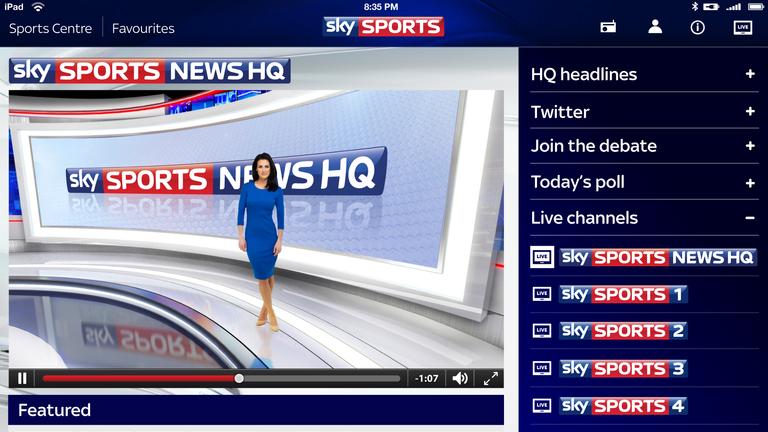 Sky Sports News HQ on Sky Sports for iPad
