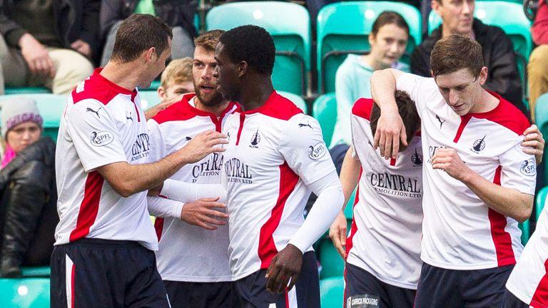 Falkirk: Celebrate Rory Loy's opening goal against Hiberniann