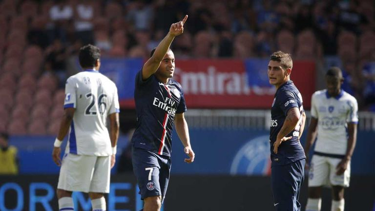 Paris Saint-Germain's Brazilian midfielder Lucas Moura celebrates after scoring