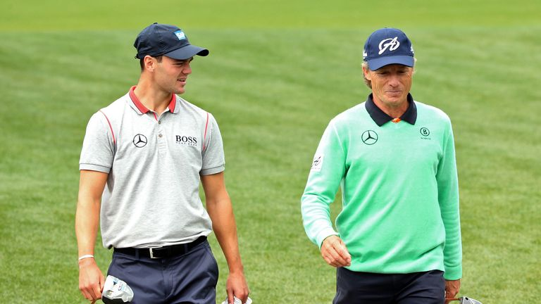 Martin Kaymer and Bernhard Langer: During practice for this year's Masters at Augusta