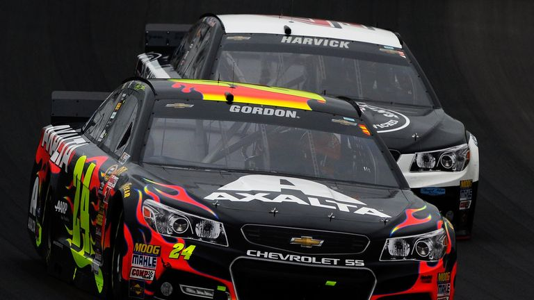 Jeff Gordon held off Kevin Harvick to win