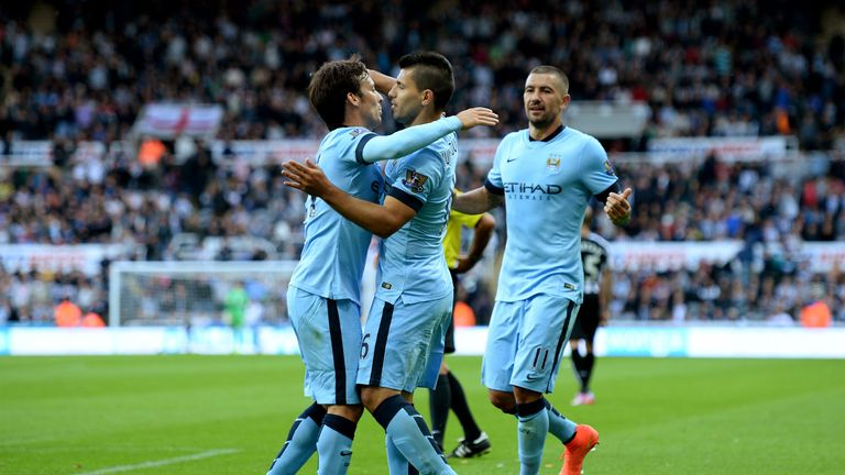 Sergio Aguero goal celeb, Newcastle United v Manchester City, Premier League