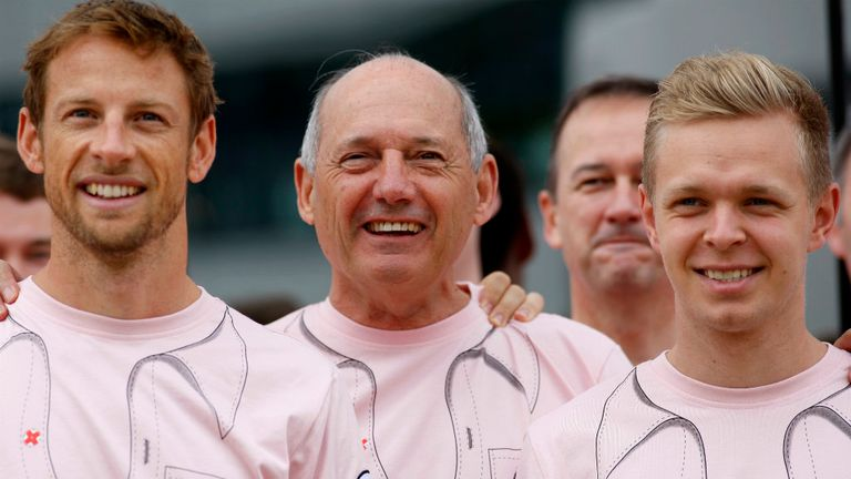 Ron Dennis with McLaren's drivers Jenson Button and Kevin Magnussen