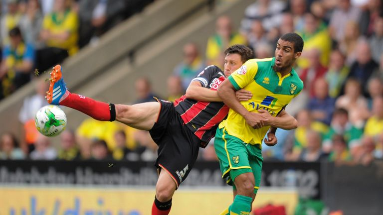 Lewis Grabban: Challenged for the ball by Tommy Elphick