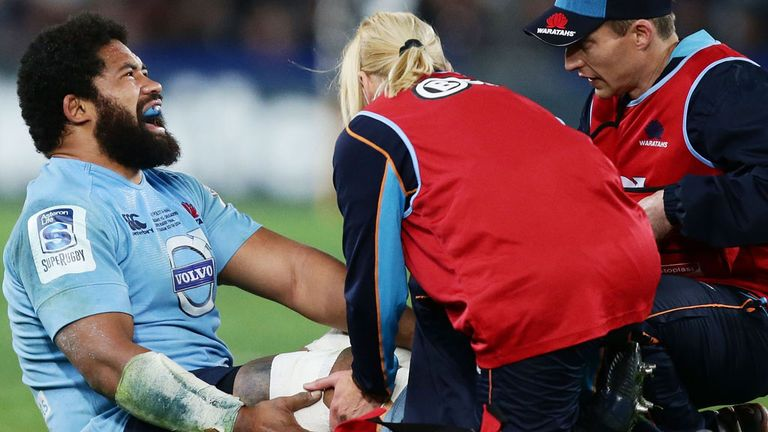 Tatafu Polota Nau: Receiving treatment for his injury suffered in Saturday's grand final