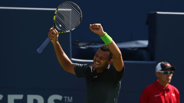 Jo-Wilfried Tsonga celebrates his win against Grigor Dimitrov at the Rogers Cup