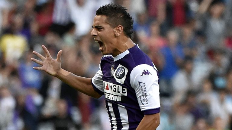 Toulouse's  Wissam Ben Yedder celebrates after scoring a goal