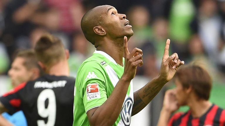 Wolfsburg defender Naldo celebrates after giving his side the lead