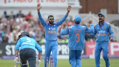 India celebrate another England wicket