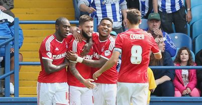 Henri Lansbury: Celebrates with his Forest team-mates