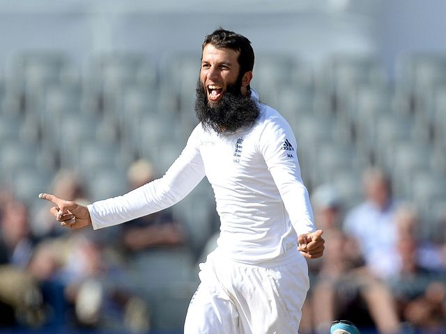 Moeen Ali celebrates taking the wicket of India's Ravindra Jadeja