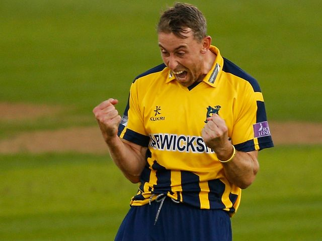Rikki Clarke of Warwickshire celebrates dismissing James Foster