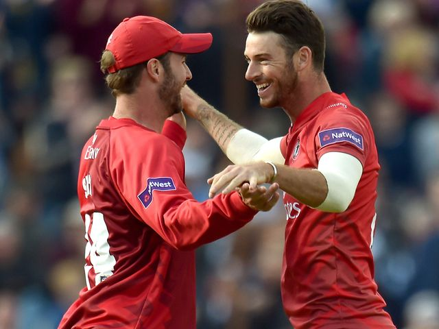 Lancashire Lightning's Jordan Clark celebrates taking the wicket of Hampshire's Chris Wood