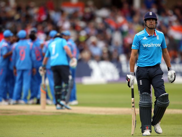 England's Alastair Cook walks off dejected