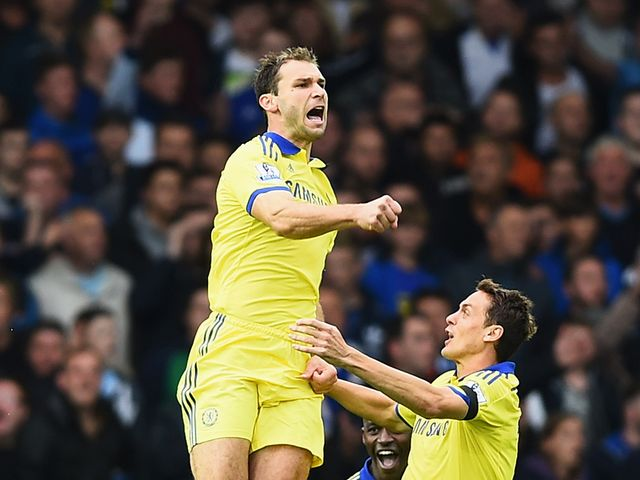 Branislav Ivanovic celebrates after grabbing the second goal