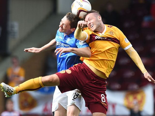 Motherwell's Paul Lawson (right) challenges St Johnstone's Gary McDonald for the header