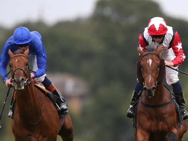 Aktabantay (right) on the way to winning The European Wealth Solario Stakes