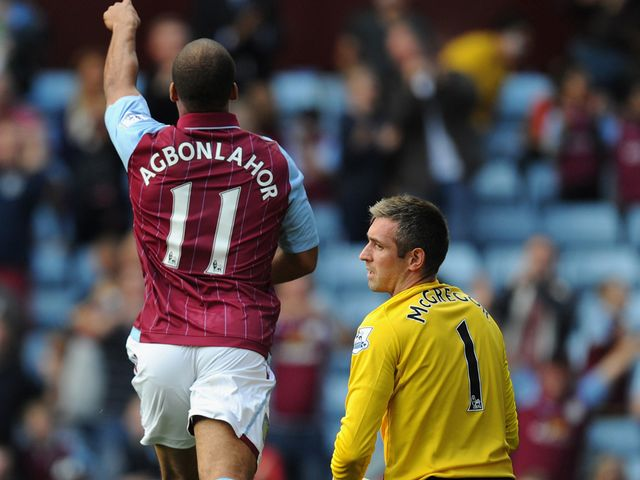 Gabriel Agbonlahor celebrates after opening the scoring at Villa Park
