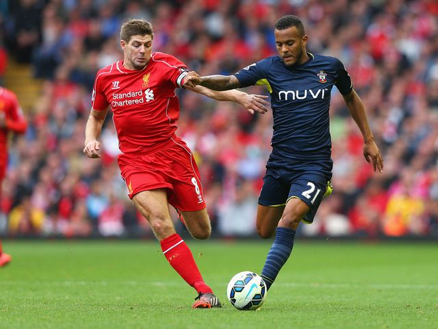 Ryan Bertrand is closed down by Steven Gerrard