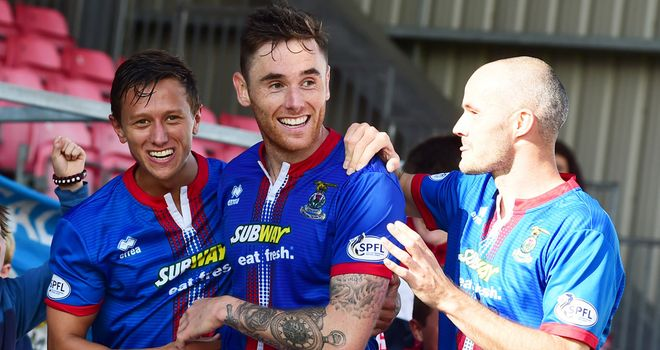 Greg Tansey: Celebrates his goal for Inverness