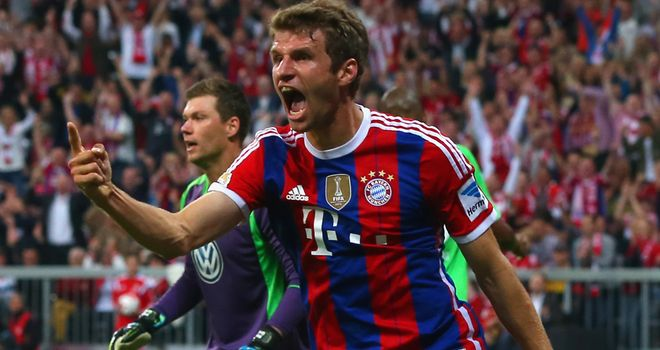 Thomas Muller celebrates giving Bayern Munich the lead