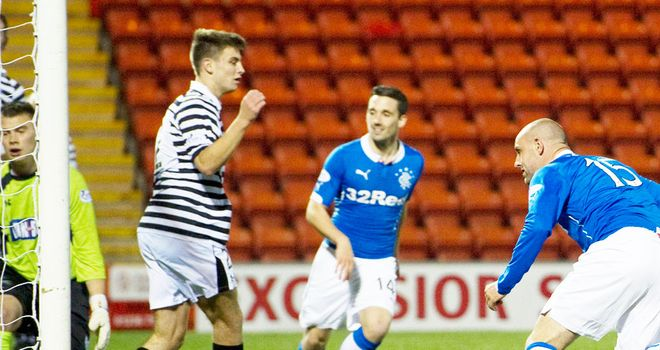 Kris Boyd scores the winning goal for Rangers against Queen's Park