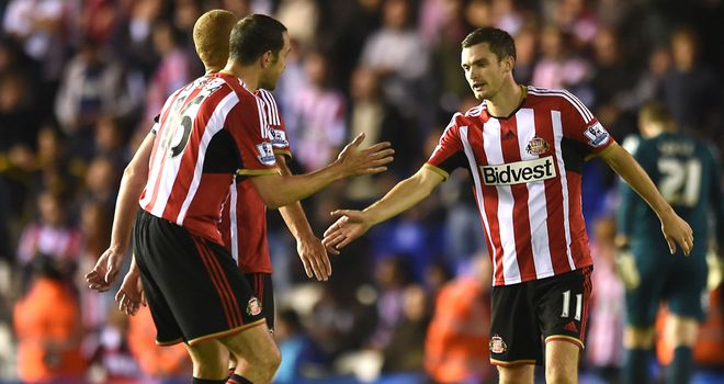 Adam Johnson: Celebrates goal with John O'Shea