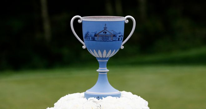 The Deutsche Bank Championship trophy is displayed at TPC Boston