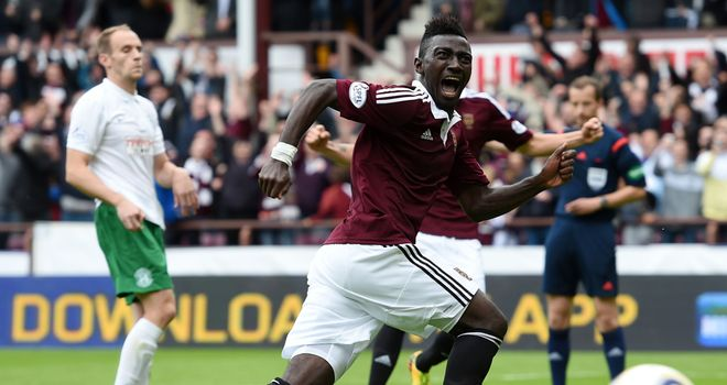 Prince Buaben: Celebrates scoring what proved to be Hearts' winner at Tynecastle