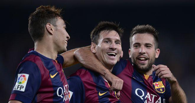 Messi (c): Congratulated by Munir and Jordi Alba