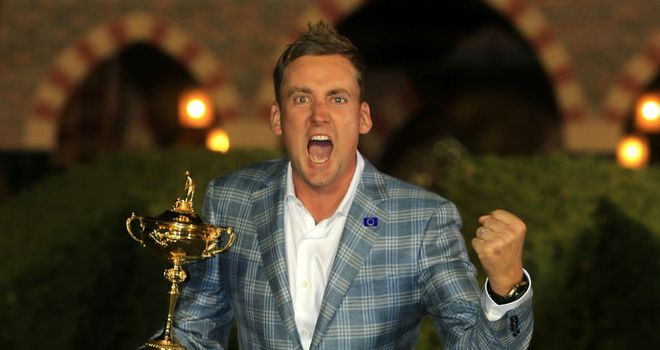 Ian Poulter with the Ryder Cup at Medinah