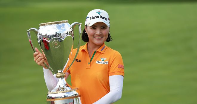 So Yeon Ryu holds the trophy after her victory at the LPGA Canadian Open
