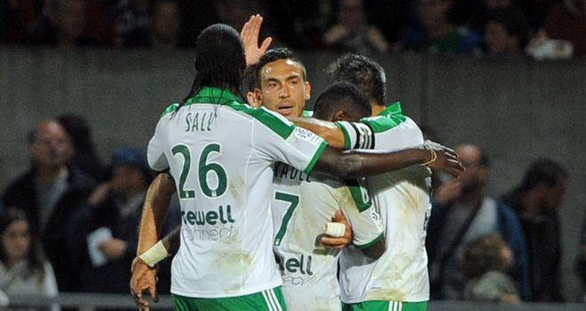 Saint-Etienne's Mevlut Erding is congratulated after scoring