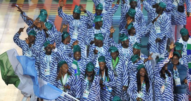 Sierra Leone Commonwealth Games team at the opening ceremony