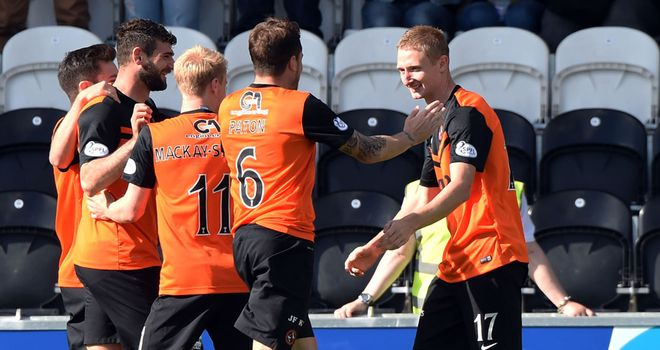 Chris Erskine (right) celebrates with team-mates after opening the scoring against St Mirren