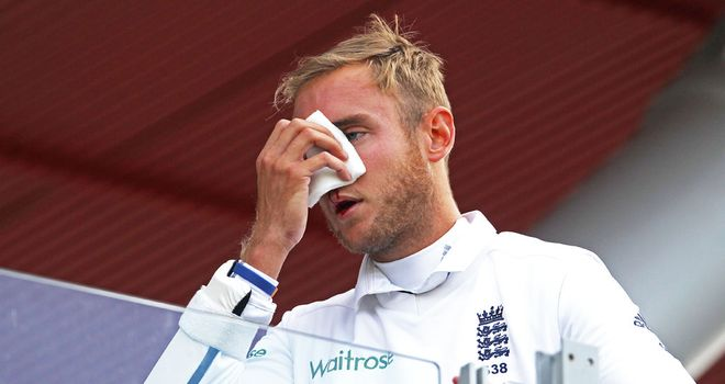 Stuart Broad was hit in the face at Old Trafford and had to retire hurt
