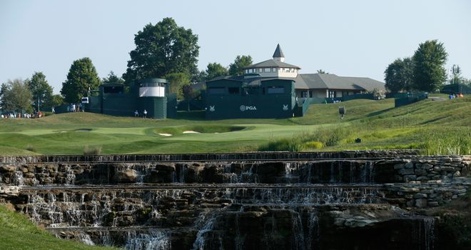 A general view of the par five 18th hole during Monday's practice round