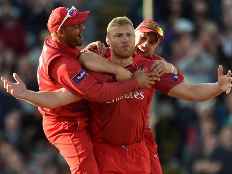 Andrew Flintoff celebrates after taking the wicket of Ian Bell